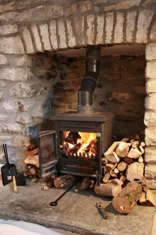 woodburner stove in fireplace